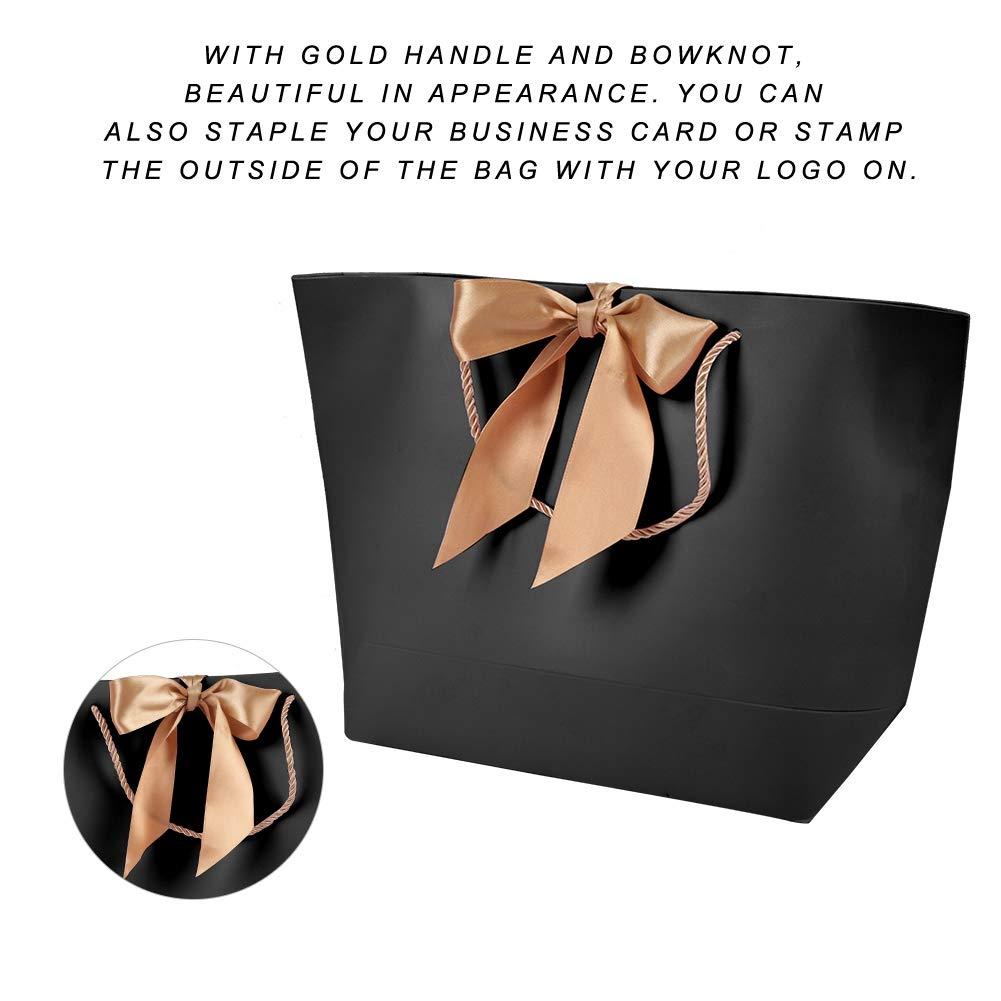 Bolsas de Papel de Regalo Decorativas utilizadas para el Embalaje Bolsas de Papel Simples Bolsas de Papel de Regalo de cosm/éticos de Ropa 3# Bolsas de Papel Negras de 10pcs