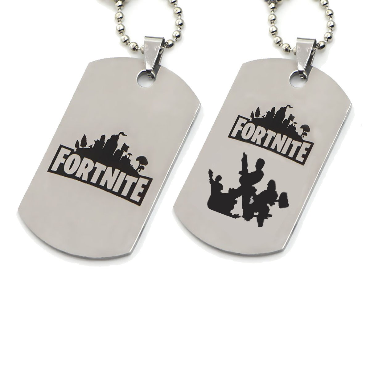 Dolovely 2Pcs Fortnite Logo Battle Royale Game Necklace Stainless Steel Dog Tag Pendant Necklace