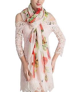 3f658aa6f7d2 YiyiLai Echarpe à Fleurs Femme Imitation Soie Foulard Long Plage Protection  Soleil Eté Casual