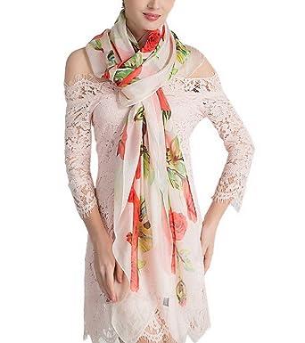 YiyiLai Echarpe à Fleurs Femme Imitation Soie Foulard Long Plage Protection  Soleil Eté Casual Style   3876d5d3cf4
