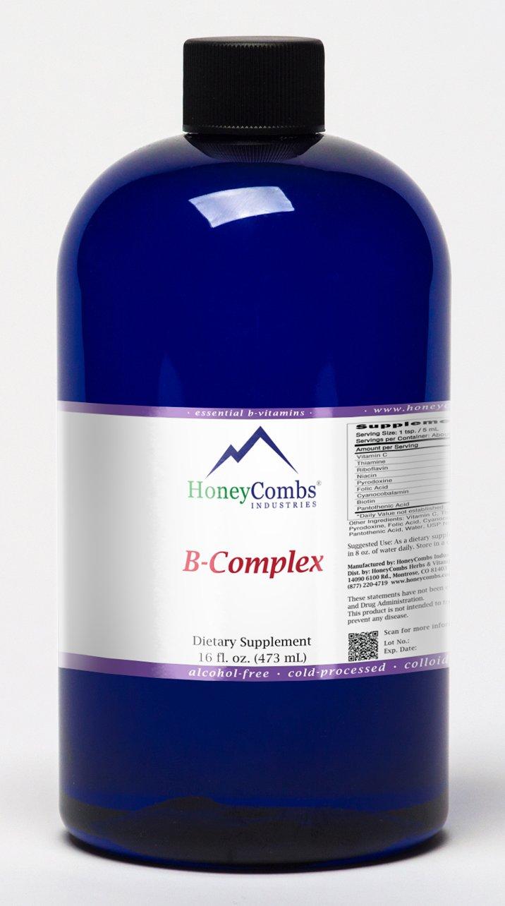 16oz Super B Complex Vitamins with Vitamin C Liquid, Alcohol-Free All Vitamins B Including B1, B2, B3, B5, B6, B7, B9, B12, Folic Acid, Niacin, Biotin. Vitamin B-Complex