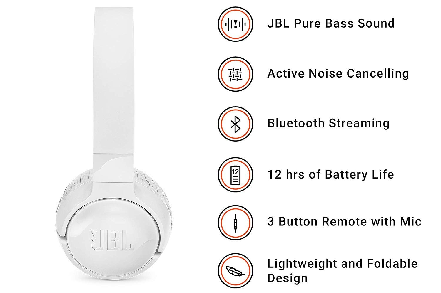JBL Tune 600 BTNC On-Ear Wireless Bluetooth Noise Canceling Headphones