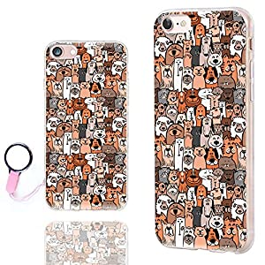 iPhone 8 Case Cute,iPhone 7 Case for Girls,ChiChiC [Orignal Series] Anti-Scratch Slim Flexible Soft TPU Rubber Cases Cover for Apple iPhone 7 8 4.7 Inch,cute animal brown dogs and cats smile pet