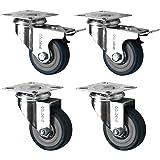 4 Swivel Heavy Duty GREY RUBBER 50mm (2 inch) Castor / Caster Wheels (2 x standard, 2 x brake), Load capacity 40kg per wheel