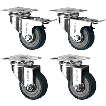 Tragkraft 40 kg pro Rad Coldene 4 x Drehstuhlrollen grau 2 x Standard, 2 x mit Bremse 50 mm
