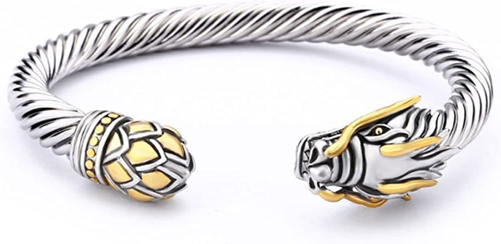 UNY Jewelry Chinese Dragon Rhodium Plated Bracelet Cuff Bangle Vintage Cable Classics Bracelet