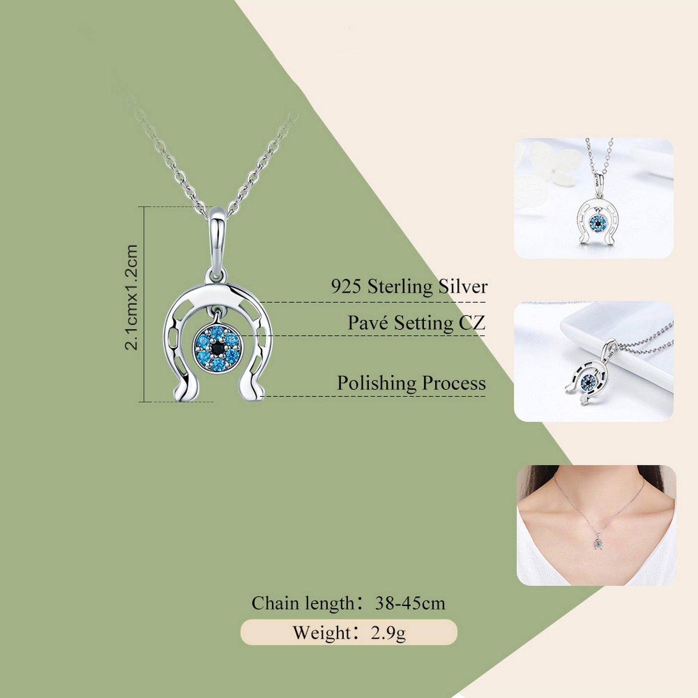 CS-DB Jewelry Silver Horseshoe Blue Eyes Chain Charm Pendants Necklaces