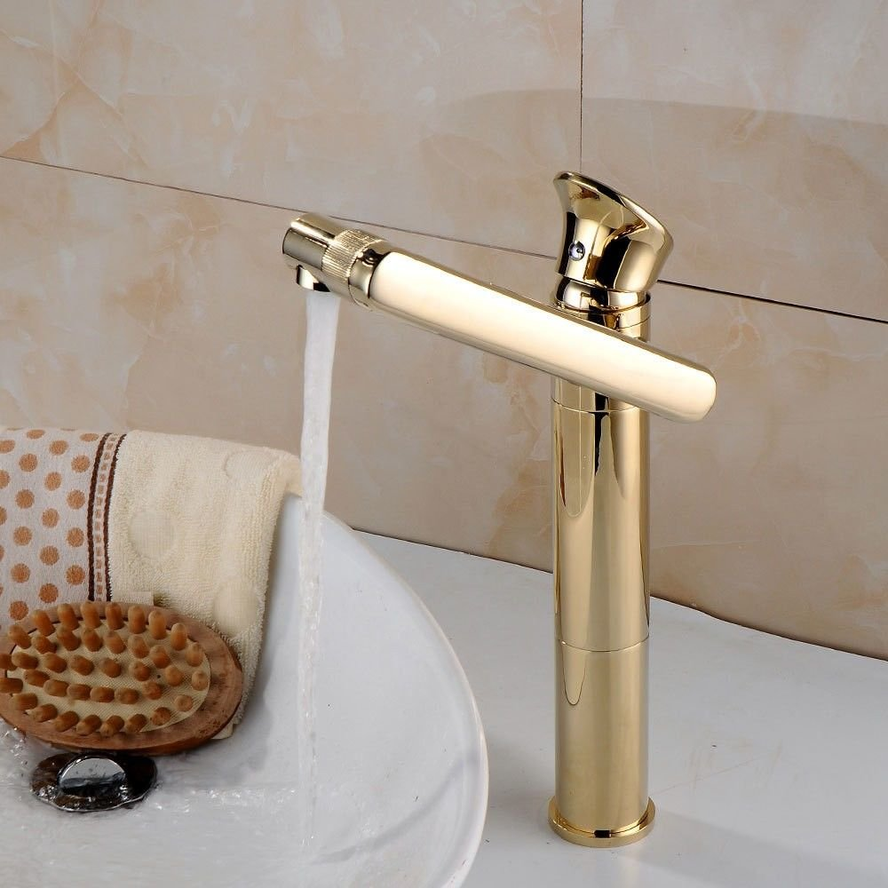 gold High) Hlluya Professional Sink Mixer Tap Kitchen Faucet Antique brass swivel hot and cold water basin taps, black antique low