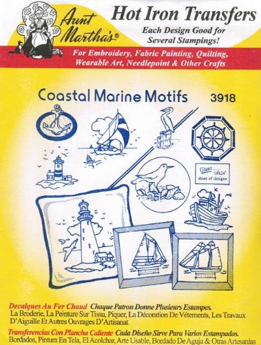 Coastal Marine Motifs Aunt Martha's Hot Iron Embroidery (Sailboat Embroidery Designs)