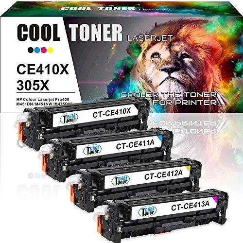 Cool Toner 4 Packs laserjet pro 400 toner 305x 305a Compatible Toner Cartridges Replacement for HP 305x 305a Toner CE410X CE411A CE412A CE413A for HP M451dn Toner MFP M475dn M451dw M475dw M451nw