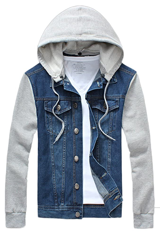 AvaCostume Mens Long Sleeve Hoodie Denim Jacket Slim Fit at Amazon ...