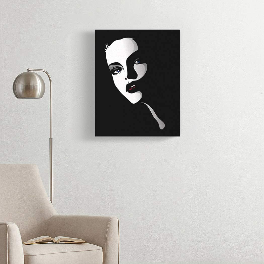 Altuny Canvas Print Wall Painting Pictures Hocus Pocus Viso Ritratto Bella Ragazza-Beautiful Girl's Portrait-Vector 12x16 Inch Artwork Modern Decor for Living Room Bedroom Bathroom Great Gift
