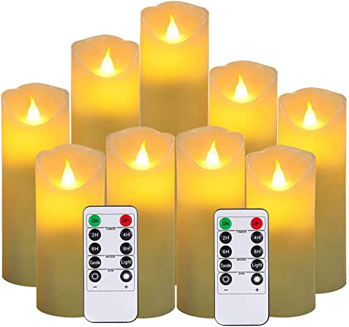 Flameless Candles,New Style Led Candles Set of 9 H 5 5.5 6 7 8 9 xD 2.1 Ivory Real Wax Battery Candles Batteries not Incl with 2 Remote Timers