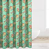 Eforcurtain Extra Large Size 72-Inch by 86-Inch Bathroom Curtain Water-Repellent Mildew Free, Chic Flower Paisley Cloth Shower Curtain Machine Washable for Home and Hotels, Green