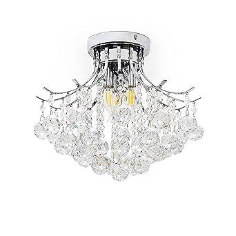 Lustre ChromeMini 3 Style Kusun Cristal Avec Finition Lumières Ifyvg6mYb7