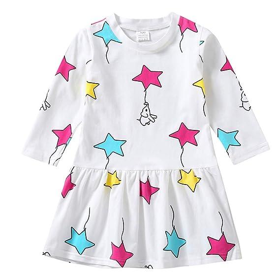 K-youth Vestidos Bebé Niña Vestido de niña Estampado de Estrella Manga Larga Plisada Vestido