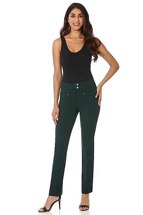 Rekucci Women's Secret Figure Pull-On Knit Straight Pant w/Tummy Control (16,Hunter Green)