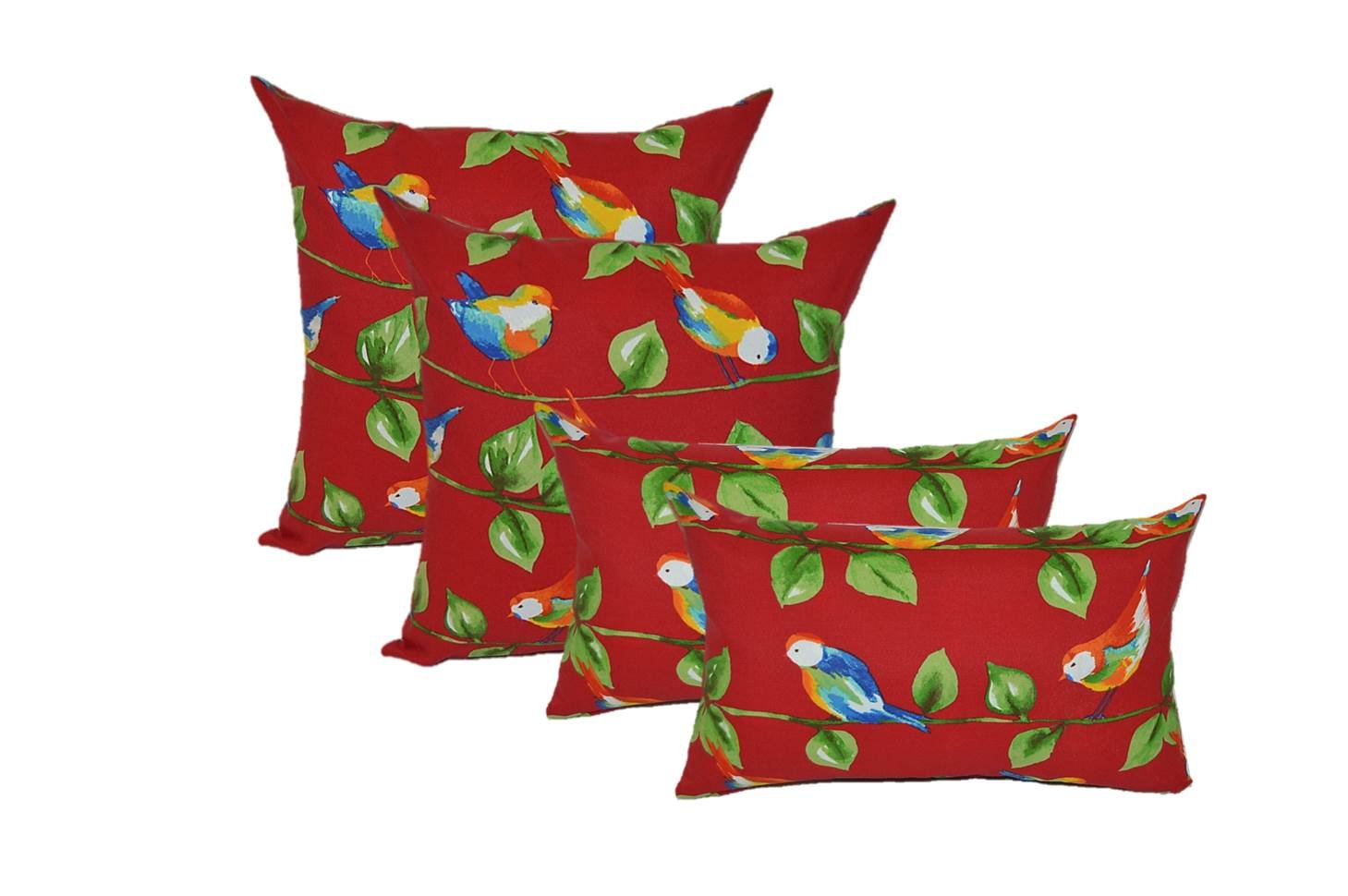 Set of 4 Indoor Outdoor Pillows 2 Square & 2 Rectangle Lumbar Decorative Throw Pillows - Berry Red Curious Birds - Blue, Green, Yellow, White - Choose Size (17'' x 17'' square & 11'' x 19'' lumbar)