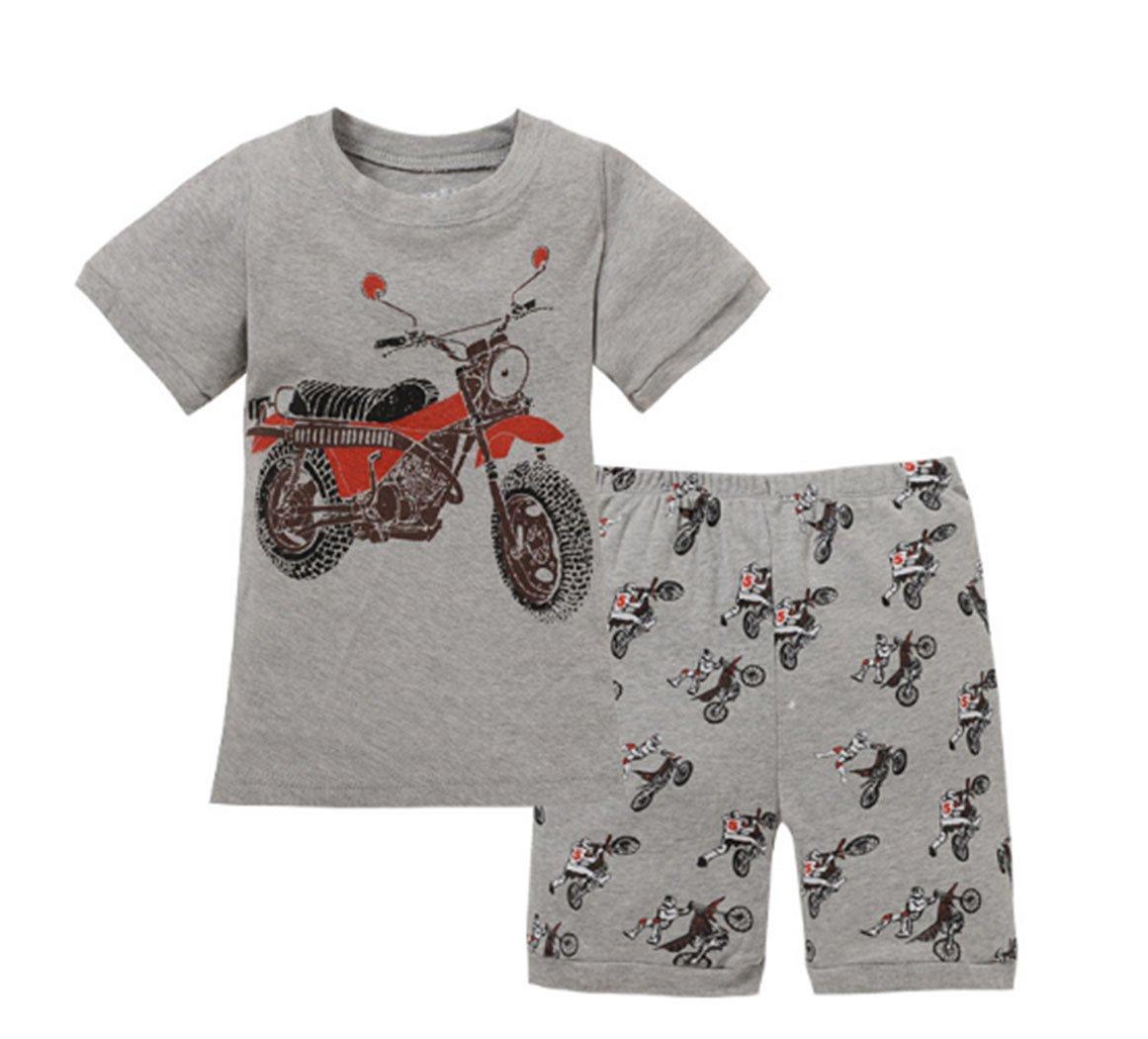 Cartoon Car Pattern Summer Little Boys' Short Sleeve 2 Piece Pajamas Set 100% Cotton Sleepwear