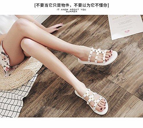 LIUXINDA la Playa de de Llevan Nuevos Zapatillas de Abajo Blanco Moda Plano Zapatillas Fondo Zapatos Verano española XZ Mujeres Espesor Mujeres La Moda con Productos aZq7wgacvr