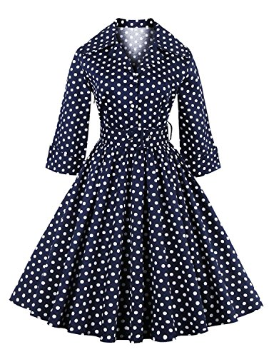 [vintage dress 1920s Polka Dot Vintage Swing NAVY 2XL] (1920 Dress)