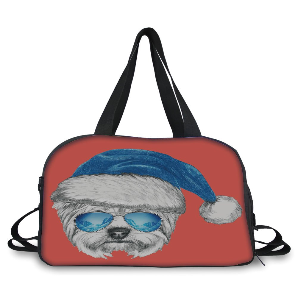 Trunk,Yorkie,Terrier with a Blue Santa Hat and Mirror Aviator Glasses Fun Hand Drawn Animal Decorative,Coral White Blue,Picture Print