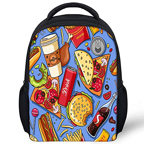 Delerain Hamburger Pizza Mini Toddler Backpack Preschool Bag 12 Inch Bookbag Toys Bag Lightweight Travel Kindergarten Students Rucksack for Kids Baby Boys Girls 3-8 Years Old]()