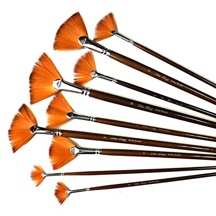 9PCS Fan Paint Brush Set Nylon Hair Paintbrush for Watercolor Acrylic Painting