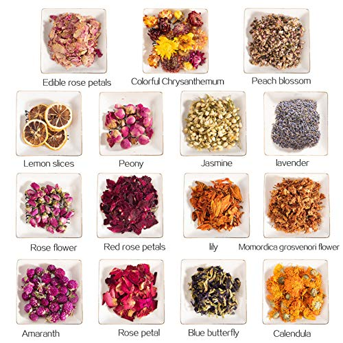 15 Bags Natural Dried Flower Herbs Kit- Dried Flower Buds Petals for Bath Tea Soap Candle Resin Jewelry Crafts Making…