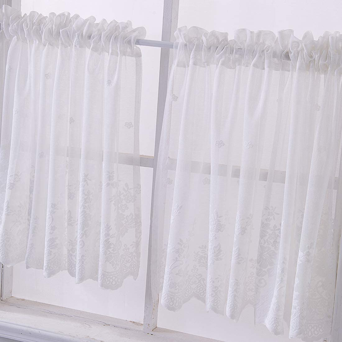 vctops Lace Sheer Kitchen Tier Curtain Set Floral Embroidered Cafe Tiers Rod Pocket Small Half Window Curtains 2 Panels 54 x 35 , White