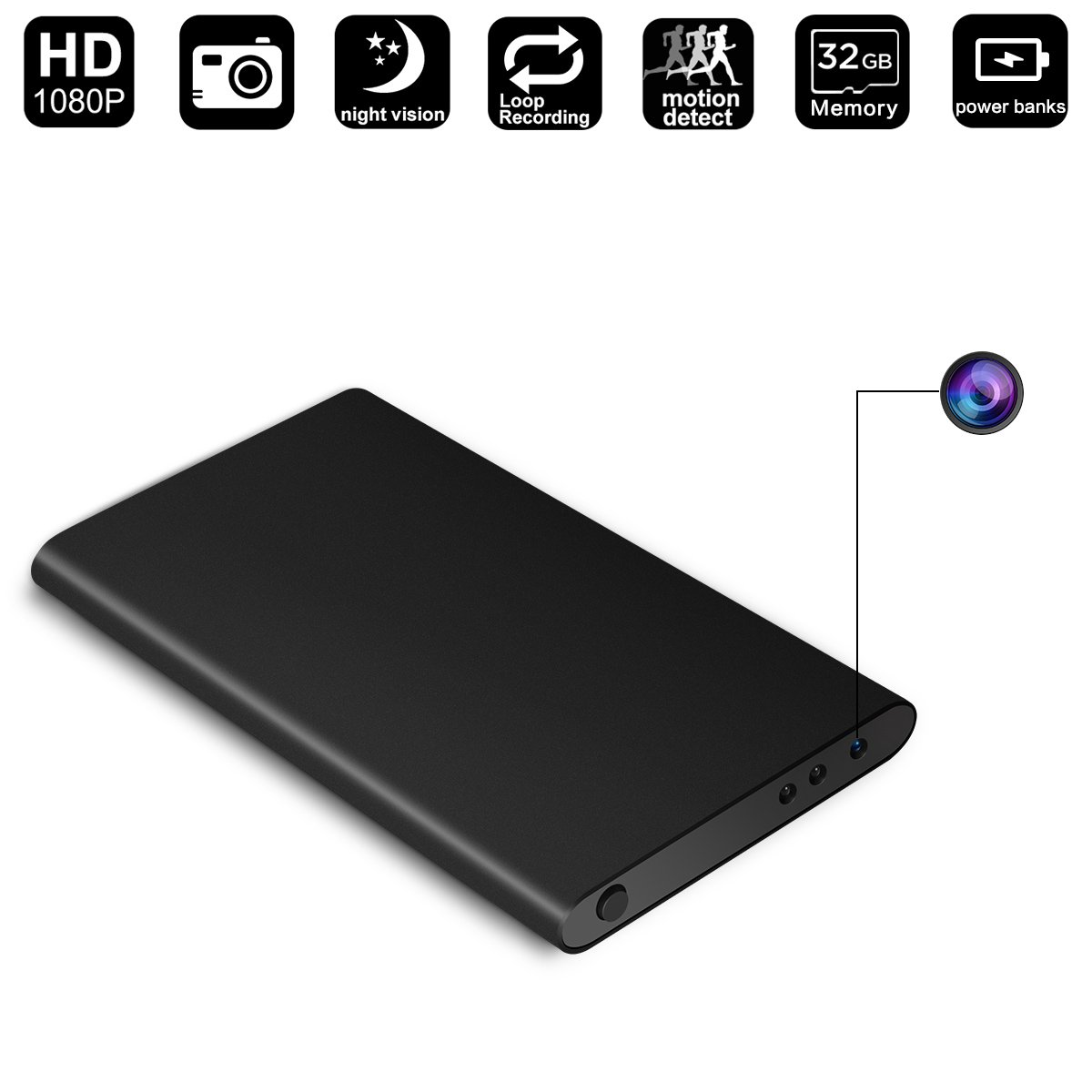 32GB Hidden Camera Power Bank,DigiHero Power Bank with 1080P Hidden Camera - Loop Recording -32GB Memory- Perfect Covert Security Camera for Home and Office - NO WIFI(INCLUDE 32GB TF CARD)