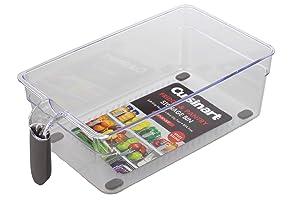 Cuisinart Pantry Organizer and Fridge Organizer Bins – Medium Plastic Organizer Bin, Measures 11 x 6 x 3.5 Inches – Organize Your Kitchen – Soft-Grip Handle, Stackable, BPA Free