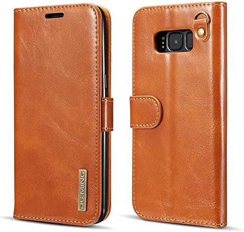 Leather Wallet Phone Case Flip Protective Card Holder Cover Detachable Magnetic Back Case with Hand Strap for Iphone/Samsung
