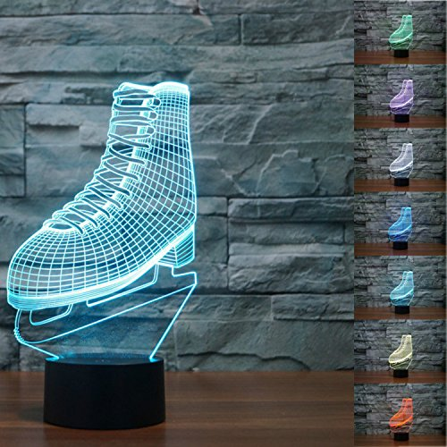 SUPERNIUDB NHL ICE SKATING Roller Skates 3D LED Night Light 7 Color Change LED Table Lamp Xmas Toy (Ice Climbers Halloween)