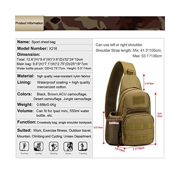 61zeWXrsu8L HUNTVP Taktisch Brusttasche Military Schultertasche mit Wasserflasche Halter Chest Sling Pack Molle Armee Crossbody Bag…