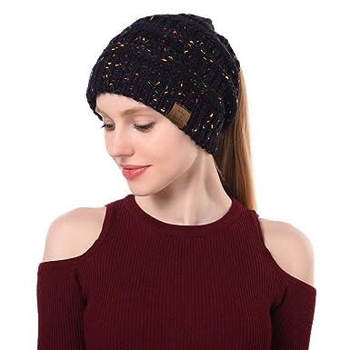 c6581a0d620 Zando Womens BeanieTail Ponytail Beanie Hat Soft Stretch Cable Knit Thick Messy  High Bun Hat Winter Warm Cap