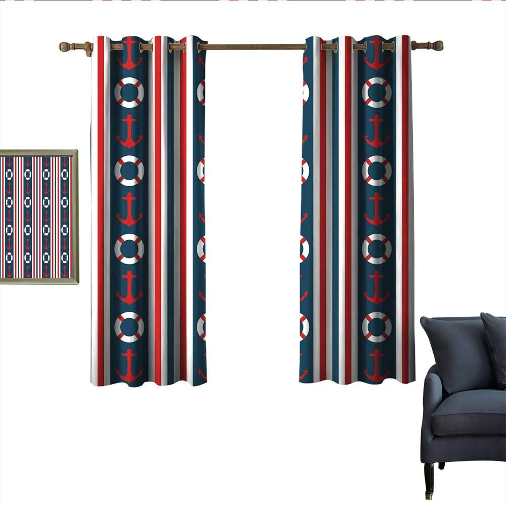 "longbuyer Nautical Blackout Curtains Vertical Borders Stripes Maritime Theme Steering Wheel and Anchor Pattern Noise Reducing 63"" Wx72 L Indigo Red White"
