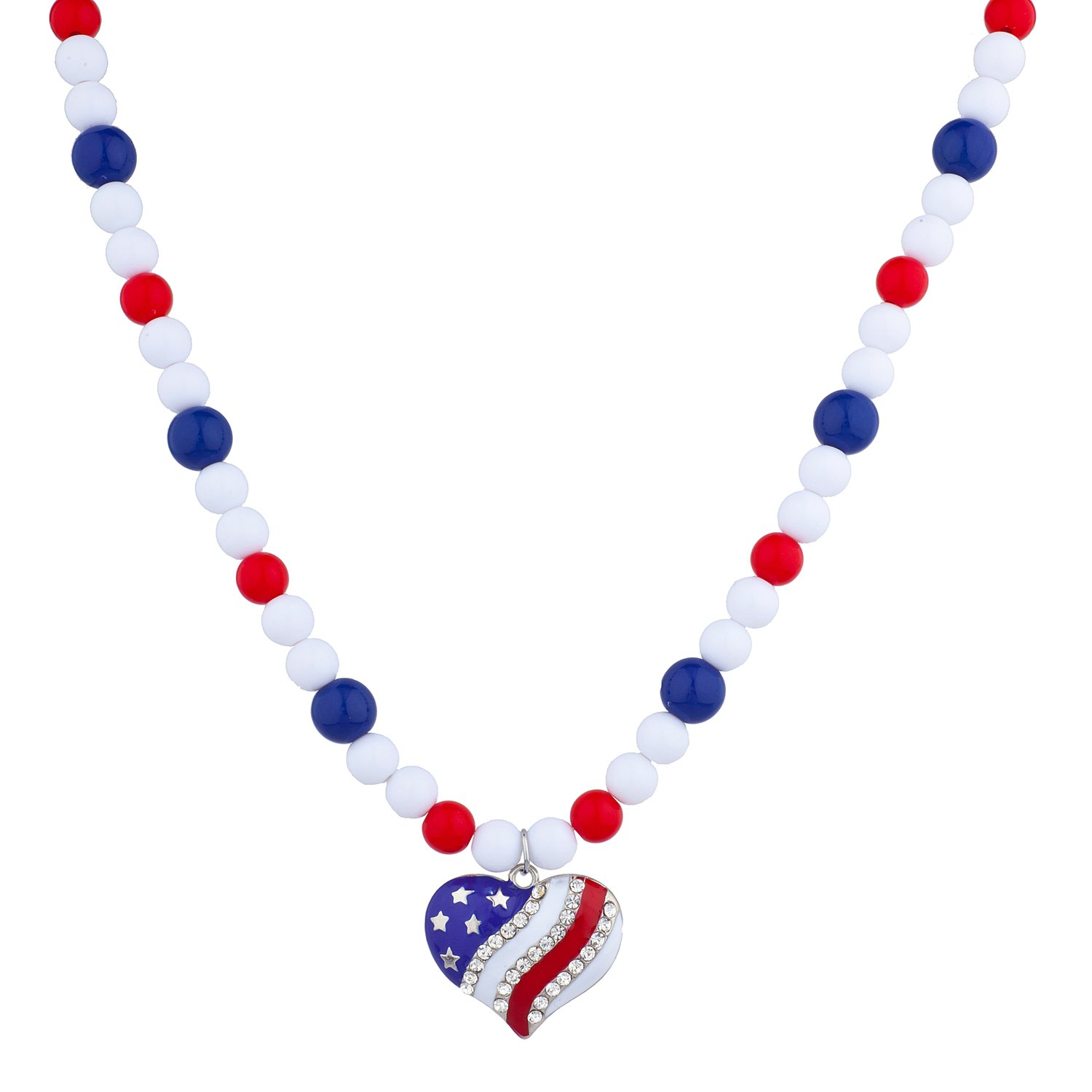 Lux Accessories USA Americana 4th of July American Pride Independence Day Pearl Strands Heart Necklace