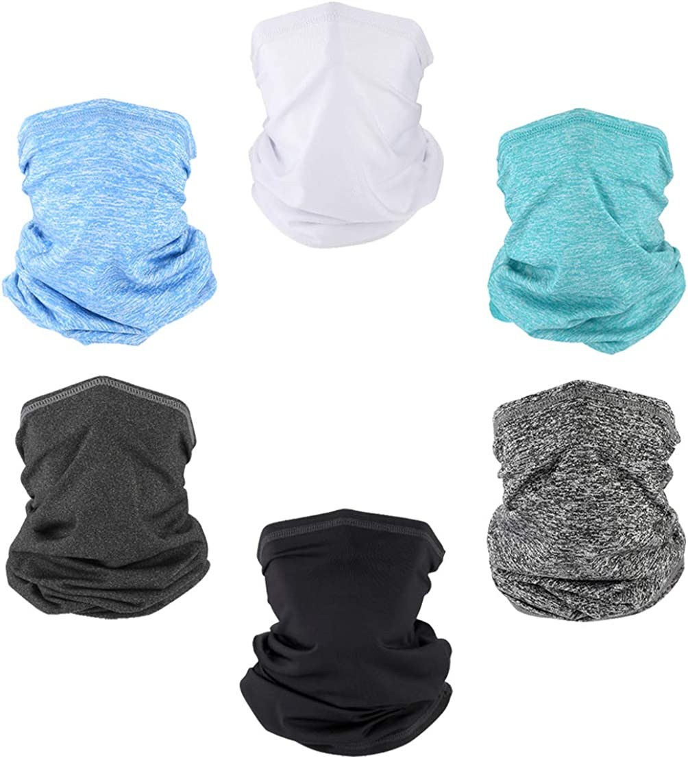 QIANJING Neck Gaiter Balaclava Face Shield Mask For Dust Wind UV Sun Protection Outdoor Face Mask Headwear Bandana for Men & Women Face Scarf 6 PCS mixture colors