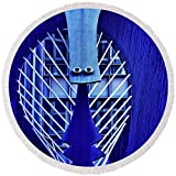 Pixels Round Beach Towel With Tassels featuring ''Chicago Picasso Sculpture, Chicago'' by Pixels