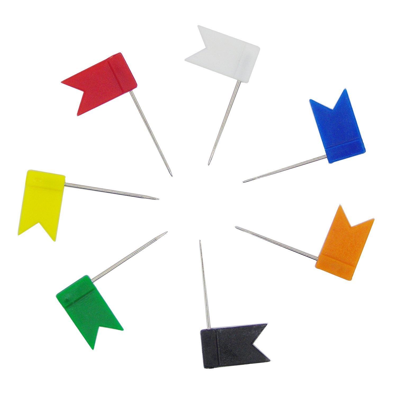 Cisixin Set da 100 Multicolore Pezzi Puntine a Bandiere da Disegno per Mappa