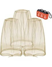 Mosquito Head Nets Gnat Repellant Head Netting for No See Ums Insects Bugs Gnats Biting Midges from Any Outdoor Activities, Works Over Most Hats Comes with Free Stock Pouches (3pcs)