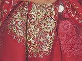 "NovaHaat Luxurious Brick Red Zari Shawl - Wool Embroidered Beaded Stole 78"""