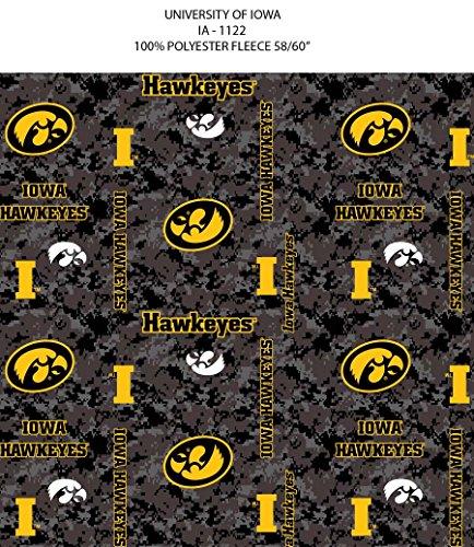 IOWA HAWKEYES FLEECE BLANKET FABRIC-UNIVERSITY OF IOWA FLEECE FABRIC-CAMOUFLAGE DESIGN (Fleece Iowa Blanket)