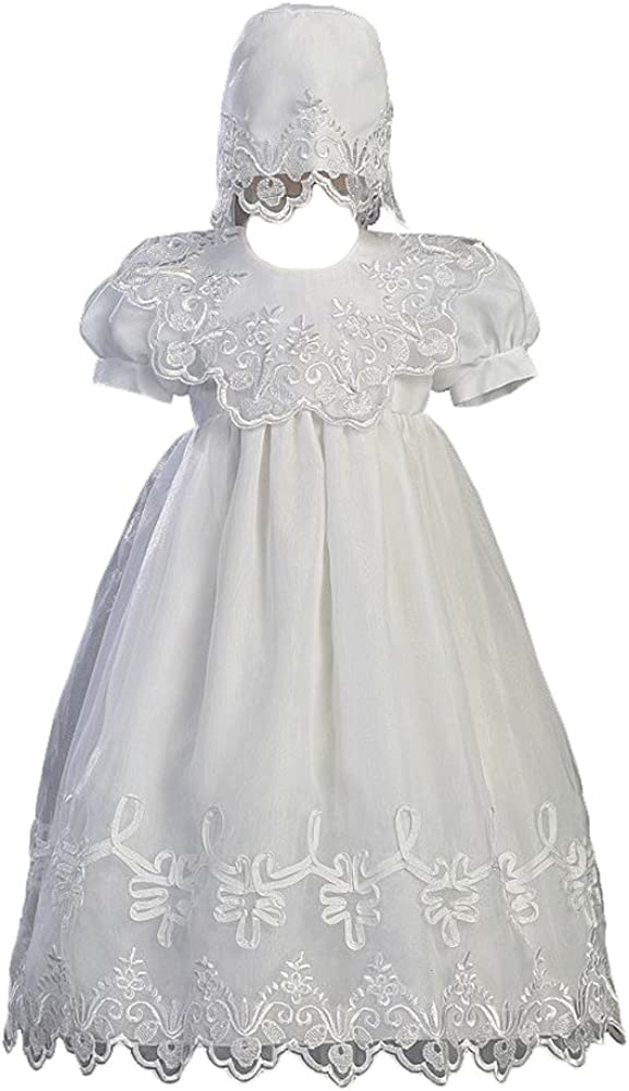 White Embroidered Organza Christening Baptism Gown with Bonnet