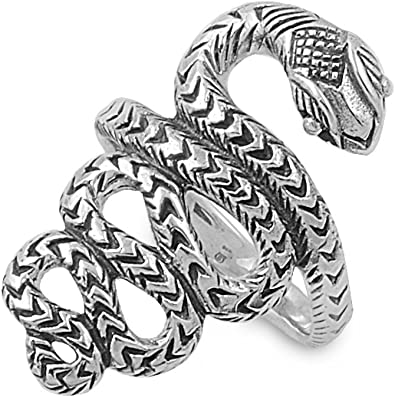 Princess Kylie 925 Sterling Silver Coiled Snake Ring
