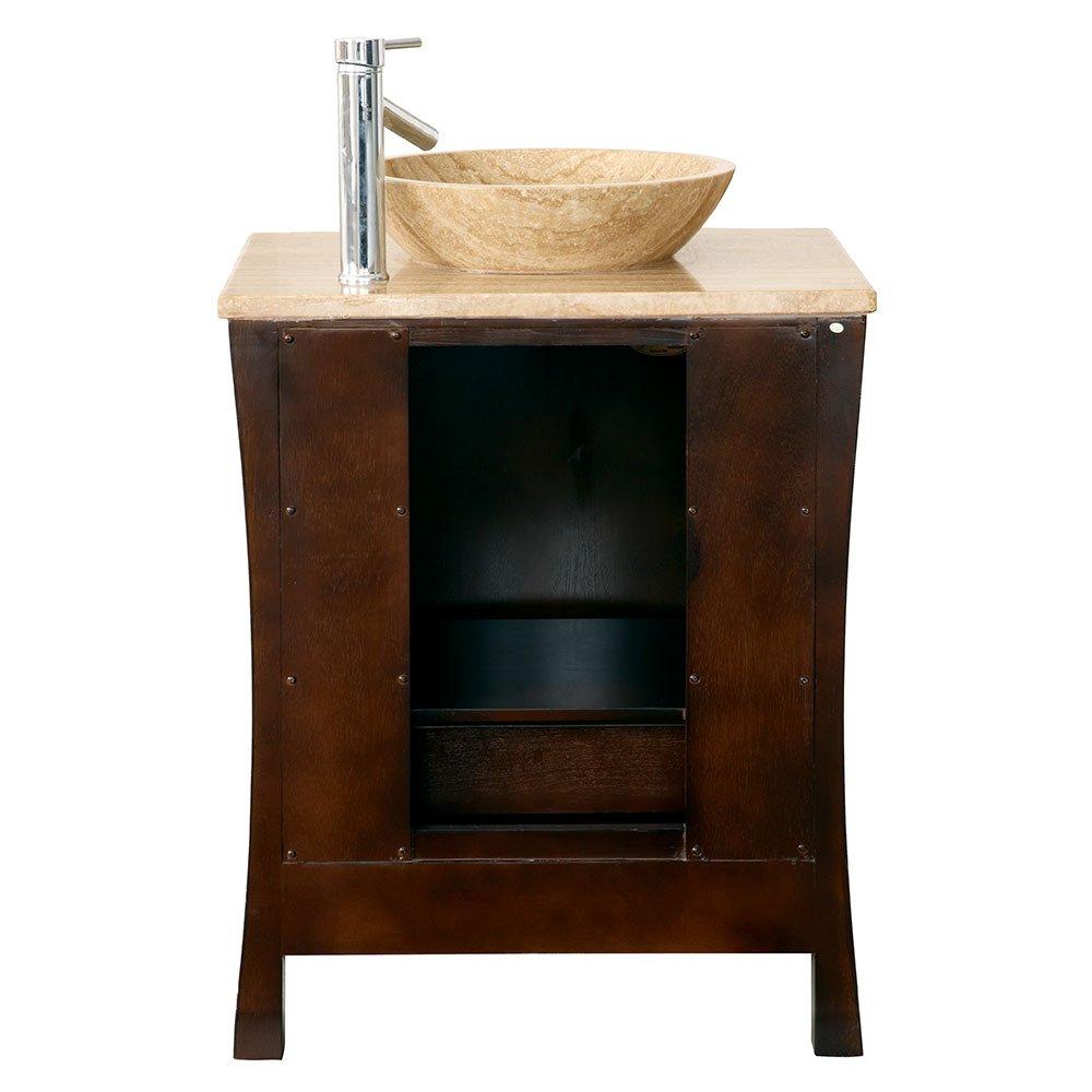 Amazon: Silkroad Exclusive Travertine Top Modern Sink Vessel Bathroom  Vanity With Cabinet, 26inch: Home & Kitchen
