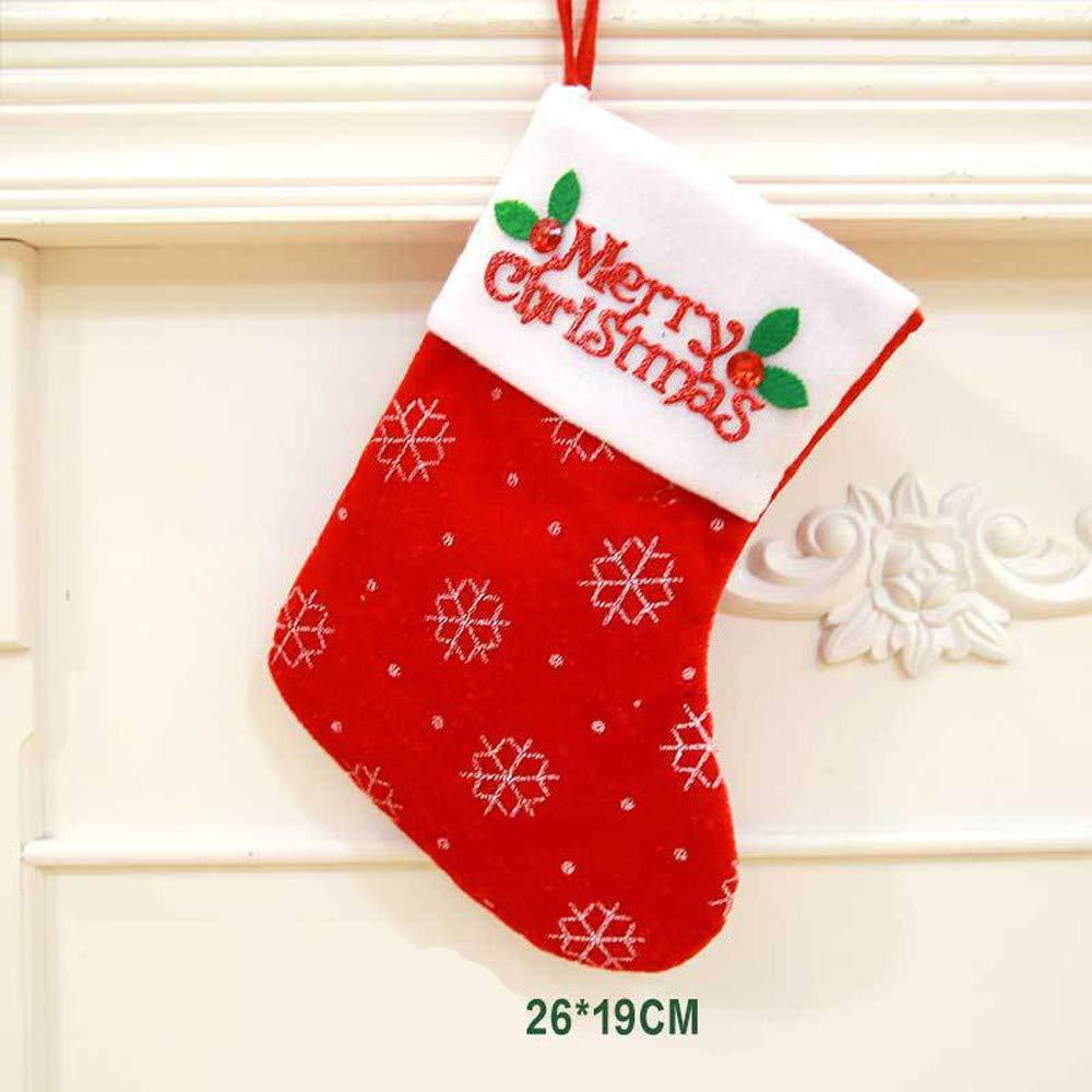 Hot Tuscom Christmas Snowflake Sock Candy Bags,for Christmas Tree Ornament Dinnerware Cover Fork Tableware Bag,23x21cm (B)