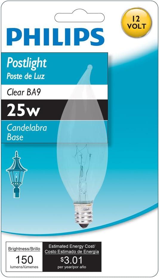 Philips 138230 Soft White 25-Watt BA9 Blunt Tip Candle Candelabra Base Light Bulb