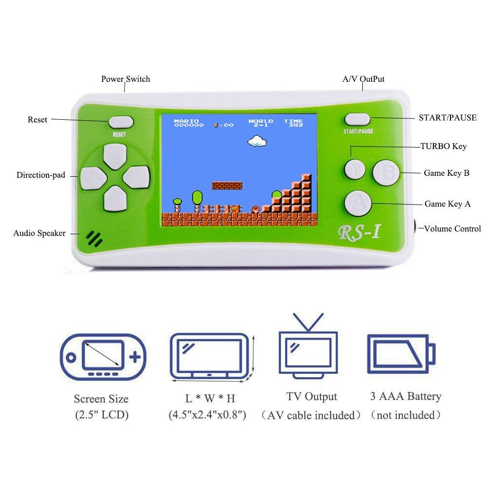 SKYRC Handheld Game Console for Kids,Classic Retro Game Player with 2.5'' LCD 8-Bit Portable Video Games Compatible with PAL AAD NTSC TV ,152 in 1 Classic Games -- (Green) by SKYRC (Image #1)